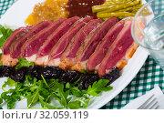 Купить «Delicious poultry dish – duck breast Magret», фото № 32059119, снято 3 августа 2020 г. (c) Яков Филимонов / Фотобанк Лори