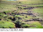 Stone walls are layered down a rugged hillside, Ankober, Ethiopia. Стоковое фото, фотограф Edwin Remsberg / age Fotostock / Фотобанк Лори