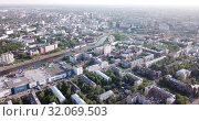 Купить «View from drone of modern cityscape of Ivanovo in summer», видеоролик № 32069503, снято 10 мая 2019 г. (c) Яков Филимонов / Фотобанк Лори