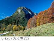 Herbstliche Landschaft am Fuße der Reiter Alpe in der Ramsau - Berchtesgaden - Deutschland. Стоковое фото, фотограф RoHa-Fotothek Fürmann / age Fotostock / Фотобанк Лори