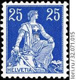 Купить «Sitting Helvetia with sword, postage stamp, Switzerland, 1908.», фото № 32071015, снято 27 июня 2014 г. (c) age Fotostock / Фотобанк Лори