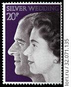 Queen Elizabeth II, Silver Wedding, postage stamp, UK, 1972. (2010 год). Редакционное фото, фотограф Ivan Vdovin / age Fotostock / Фотобанк Лори