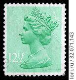 Queen Elizabeth II, Machin series, postage stamp, UK, 1982. (2010 год). Редакционное фото, фотограф Ivan Vdovin / age Fotostock / Фотобанк Лори