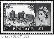Windsor Castle, England, Queen Elizabeth II, Wilding series, postage stamp, UK, 1959. (2013 год). Редакционное фото, фотограф Ivan Vdovin / age Fotostock / Фотобанк Лори