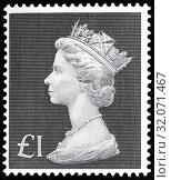 Queen Elizabeth II, Machin series, postage stamp, UK, 1969. (2014 год). Редакционное фото, фотограф Ivan Vdovin / age Fotostock / Фотобанк Лори