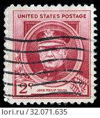 John Philip Sousa (1854-1932), American composer, conductor, postage stamp, USA, 1940. (2010 год). Редакционное фото, фотограф Ivan Vdovin / age Fotostock / Фотобанк Лори