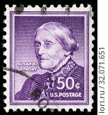 Susan B. Anthony (1820-1906), Women's rights activist, postage stamp, USA, 1955. (2010 год). Редакционное фото, фотограф Ivan Vdovin / age Fotostock / Фотобанк Лори