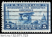 Airliner Ryan Brougham B-5, globe, Aeronautics Conference, postage stamp, USA, 1928. (2010 год). Редакционное фото, фотограф Ivan Vdovin / age Fotostock / Фотобанк Лори