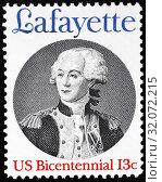 Купить «Marquis de Lafayette (1757-1834), postage stamp, USA, 1977.», фото № 32072215, снято 29 октября 2013 г. (c) age Fotostock / Фотобанк Лори