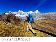 Купить «Hiking scene in Cordillera mountains, Peru», фото № 32072863, снято 15 октября 2019 г. (c) easy Fotostock / Фотобанк Лори