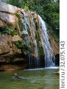 Купить «Waterfall in Catalonia surrounded by beautiful forests», фото № 32075143, снято 7 мая 2017 г. (c) Яков Филимонов / Фотобанк Лори