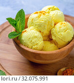 Купить «Artisanal ice cream with turmeric (Golden ice cream)», фото № 32075991, снято 31 мая 2019 г. (c) Марина Сапрунова / Фотобанк Лори
