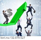 Купить «Businessman supporting growtn in economy on chart graph», фото № 32079527, снято 16 сентября 2019 г. (c) Elnur / Фотобанк Лори