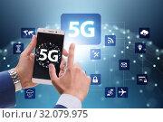 Купить «5G mobile technology concept - high internet speed», фото № 32079975, снято 21 сентября 2019 г. (c) Elnur / Фотобанк Лори