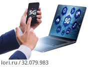 Купить «5G mobile technology concept - high internet speed», фото № 32079983, снято 20 сентября 2019 г. (c) Elnur / Фотобанк Лори