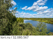 Купить «Summer rural landscape with the Lukh River in the village of Myt, Russia», фото № 32080567, снято 20 августа 2019 г. (c) Валерий Смирнов / Фотобанк Лори