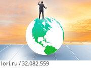 Купить «Businessman on top of the world», фото № 32082559, снято 20 сентября 2019 г. (c) Elnur / Фотобанк Лори