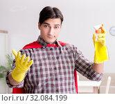 Купить «The super hero cleaner doing housework», фото № 32084199, снято 22 декабря 2016 г. (c) Elnur / Фотобанк Лори