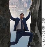 Купить «Businessman overcoming challenges in business concept», фото № 32084599, снято 11 декабря 2019 г. (c) Elnur / Фотобанк Лори