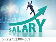 Купить «Concept of increasing salary with businessman», фото № 32084659, снято 29 мая 2020 г. (c) Elnur / Фотобанк Лори