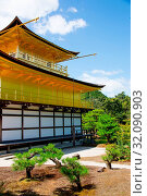Купить «Asia, Japan, Kansai Region, Kyoto, Rokuon-ji Temple, Kinkaku-ji, The Golden Pavillon», фото № 32090903, снято 17 августа 2018 г. (c) age Fotostock / Фотобанк Лори