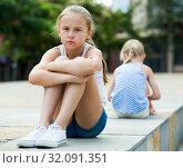 Купить «Two quarreled little girls», фото № 32091351, снято 20 июля 2017 г. (c) Яков Филимонов / Фотобанк Лори