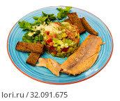 Купить «Salad from avocado, tomatoes and greens with trout», фото № 32091675, снято 22 сентября 2019 г. (c) Яков Филимонов / Фотобанк Лори