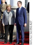 Warsaw Poland, November 2, 2018. Angela Merkel visiting Poland. Pictured: Angela Merkel and Mateusz Morawiecki. Редакционное фото, фотограф Kleta / age Fotostock / Фотобанк Лори