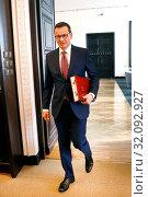 26.02.2019. Prime Minister of Poland Mateusz Morawiecki at the Chancellery sitting. Warsaw, Poland. Редакционное фото, фотограф Kleta / age Fotostock / Фотобанк Лори