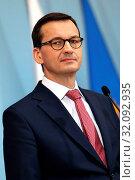 Warsaw, Poland 07.03.2019 Pictured: Prime Minister of Poland Mateusz Morawiecki during the press conference. Редакционное фото, фотограф Kleta / age Fotostock / Фотобанк Лори