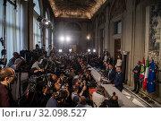 Matteo Salvini, Massimiliano Romeo, Riccardo Molinari during the press conference at the Quirinale of the Parliamentary Group 'Lega' after consultation... (2019 год). Редакционное фото, фотограф Agf/Alessandro Serrano' / age Fotostock / Фотобанк Лори