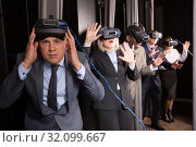 Excited man in virtual reality room. Стоковое фото, фотограф Яков Филимонов / Фотобанк Лори