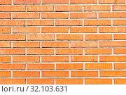 Купить «Hintergrund aus einer orangen Backsteinwand», фото № 32103631, снято 9 апреля 2020 г. (c) easy Fotostock / Фотобанк Лори