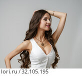 Купить «Model with perfect body advertises sexy lingerie», фото № 32105195, снято 2 февраля 2016 г. (c) Гурьянов Андрей / Фотобанк Лори