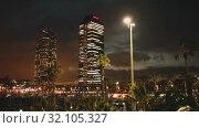 Купить «Evening view of Port in Barcelona. Catalonia, Spain.», видеоролик № 32105327, снято 24 марта 2019 г. (c) Яков Филимонов / Фотобанк Лори
