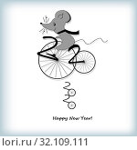 Mouse on a bicycle. 2020 Chinese New Year. Стоковая иллюстрация, иллюстратор vlasova / Фотобанк Лори