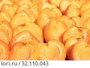 Купить «Bright juicy halves of ripe apricot», фото № 32110043, снято 3 июля 2019 г. (c) ok_fotoday / Фотобанк Лори