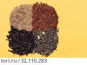 Купить «Assorted four types of dry tea: green, black leaf, rooibos super», фото № 32110283, снято 23 августа 2019 г. (c) ok_fotoday / Фотобанк Лори