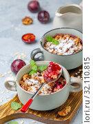 Купить «Delicious crumble of red cherry plum and oatmeal», фото № 32110815, снято 16 августа 2019 г. (c) Марина Сапрунова / Фотобанк Лори