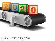 Купить «2020 year. conveyor on white background. Isolated 3D illustration», иллюстрация № 32112159 (c) Ильин Сергей / Фотобанк Лори
