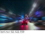 High-speed movement at night. Стоковое фото, фотограф Юрий Бизгаймер / Фотобанк Лори