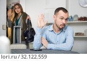 Купить «Annoyed man gesturing enough to girlfriend leaving him», фото № 32122559, снято 15 января 2019 г. (c) Яков Филимонов / Фотобанк Лори