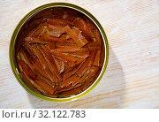 Купить «Pickled anchovy fillets in oil», фото № 32122783, снято 17 сентября 2019 г. (c) Яков Филимонов / Фотобанк Лори