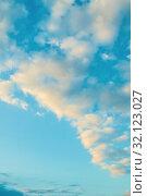 Купить «Небесный закатный пейзаж. Синее небо. Sunset sky background - picturesque colorful clouds lit by sunlight, picturesque sky view in pastel tones», фото № 32123027, снято 17 июня 2018 г. (c) Зезелина Марина / Фотобанк Лори