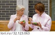 Купить «senior women eating takeaway food on city street», видеоролик № 32123063, снято 25 августа 2019 г. (c) Syda Productions / Фотобанк Лори