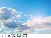 Купить «Небесный закатный пейзаж. Синее небо. Blue sky background - picturesque colorful clouds lit by sunlight, picturesque sky view in soft tones», фото № 32123075, снято 16 сентября 2018 г. (c) Зезелина Марина / Фотобанк Лори