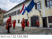 Купить «The Changing of the Guard, Croatian soldiers in historical regalia in ceremonial parade at St Mark's Square, Zagreb, Croatia.», фото № 32124383, снято 3 августа 2019 г. (c) age Fotostock / Фотобанк Лори