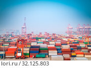 Купить «Shanghai container port in morning fog, modern seaport view», фото № 32125803, снято 10 апреля 2020 г. (c) easy Fotostock / Фотобанк Лори