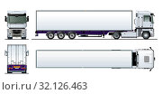 Купить «Vector cargo semi truck template isolated on white», иллюстрация № 32126463 (c) Александр Володин / Фотобанк Лори