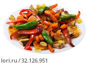 Купить «Image of plaque with vegetables in plate», фото № 32126951, снято 20 февраля 2020 г. (c) Яков Филимонов / Фотобанк Лори